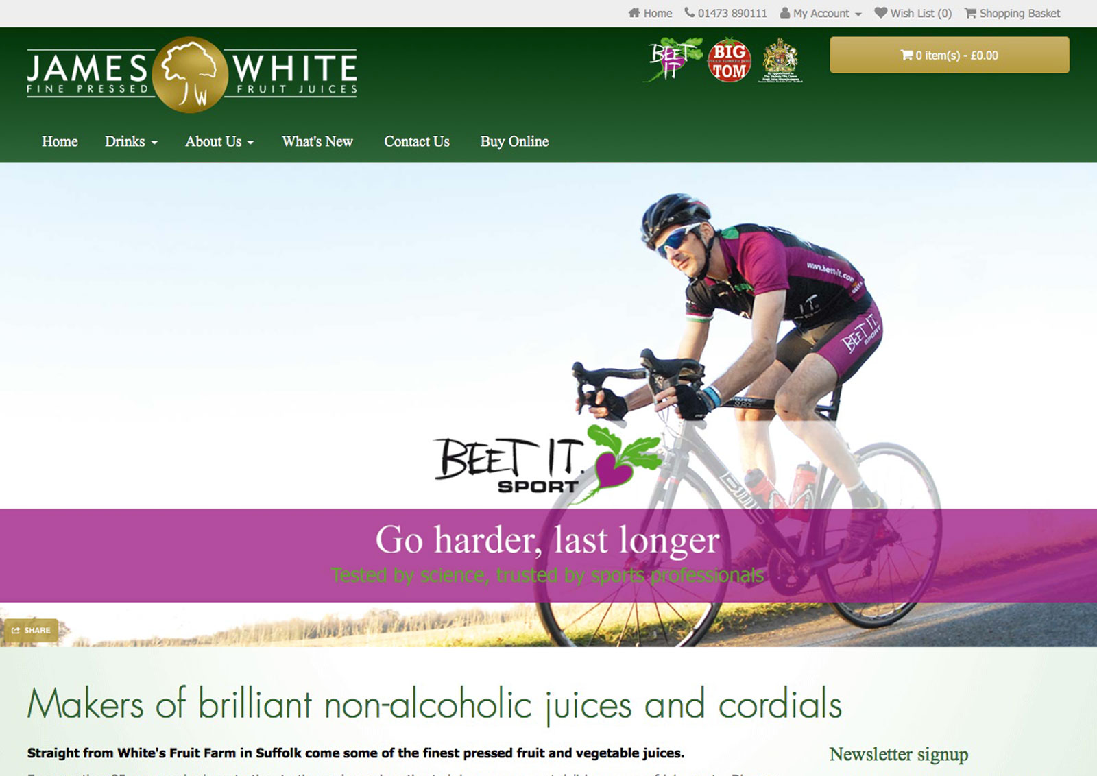 James White Drinks website home page